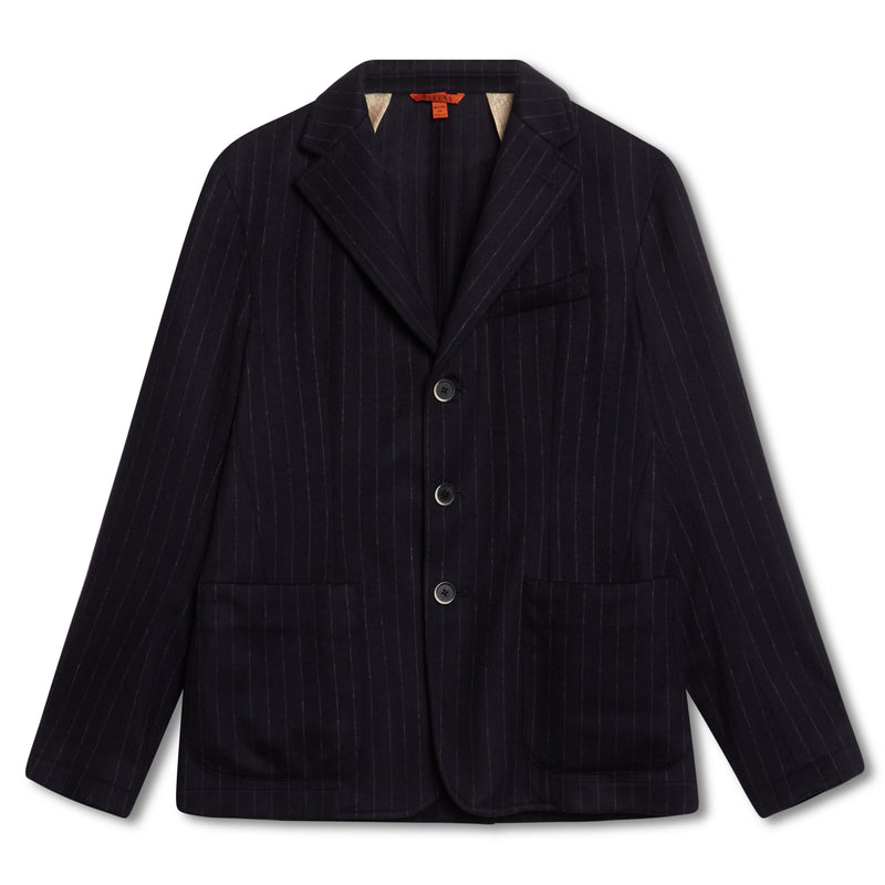 Barena Pinstripe Unstructured Blazer - Navy - Burrows and Hare