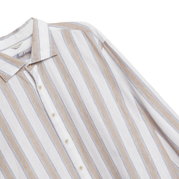Stenstroms Shirt - White, Beige & Blue Stripe - Burrows and Hare
