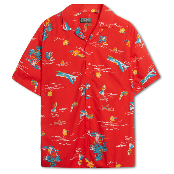 Gitman Bros. Surf and Turf Camp Shirt - Red - Burrows and Hare