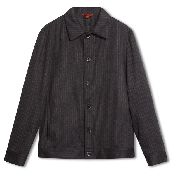 Barena Pinstripe Cashmere Overshirt - Grey - Burrows and Hare