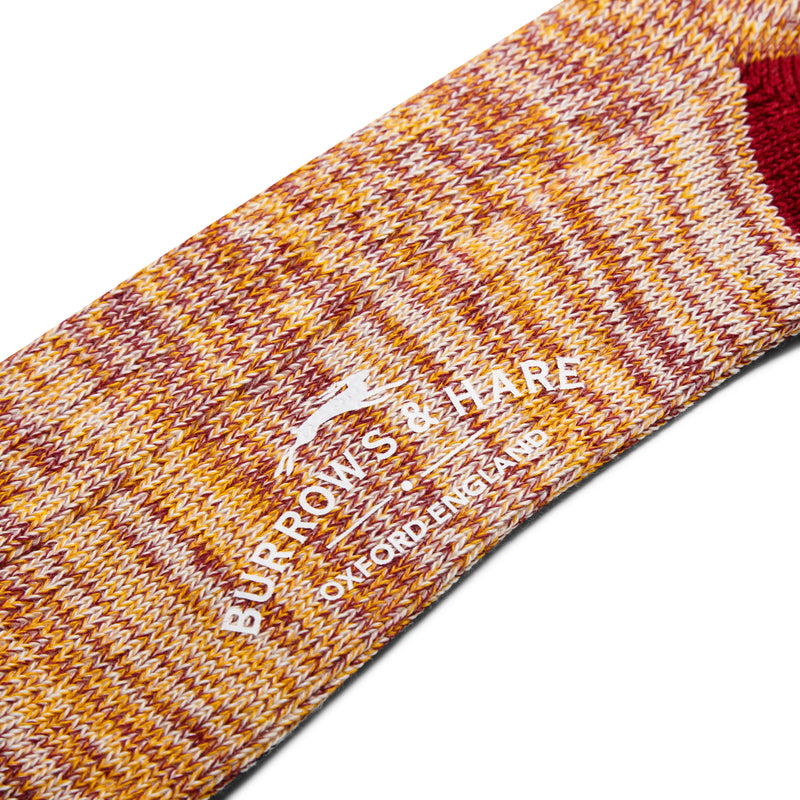 Burrows and Hare Woven Socks - Burgundy and Yellow - Burrows and Hare