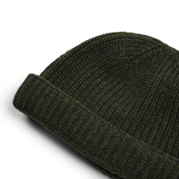 Burrows & Hare Lambswool Beanie Hat - Green - Burrows and Hare