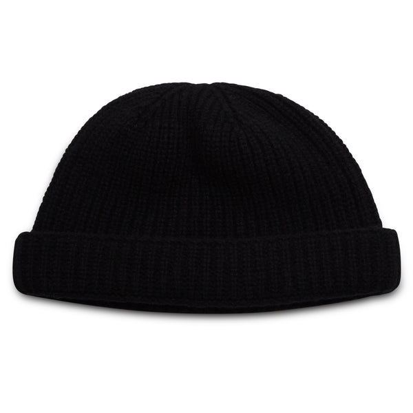 Burrows & Hare Lambswool Beanie Hat - Black - Burrows and Hare