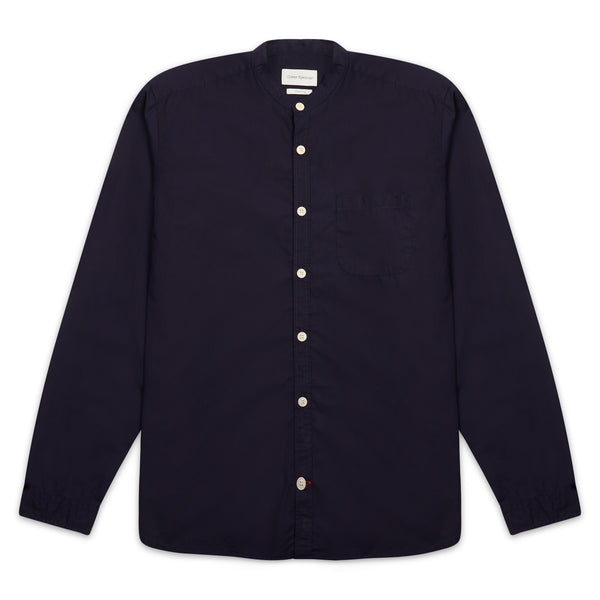 Oliver Spencer Grandad Shirt Abbott - Navy - Burrows and Hare