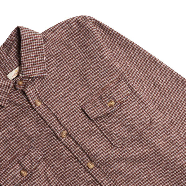 Burrows & Hare Houndstooth Over Shirt - Red - Burrows and Hare