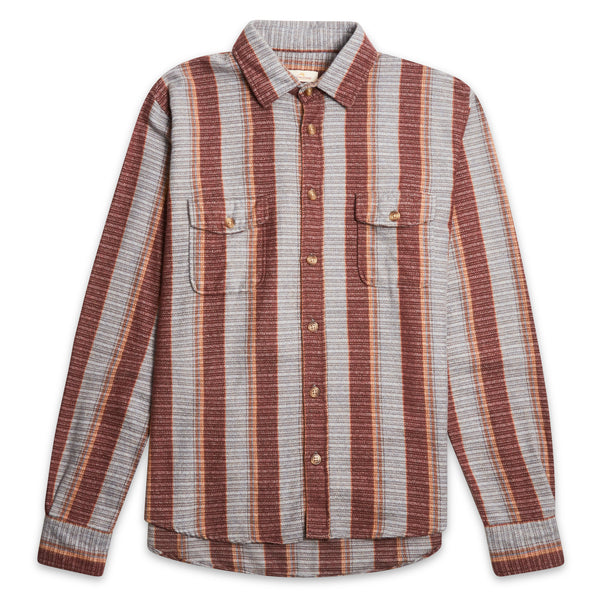 Burrows & Hare Over Shirt - Stripe Blue/Port - Burrows and Hare
