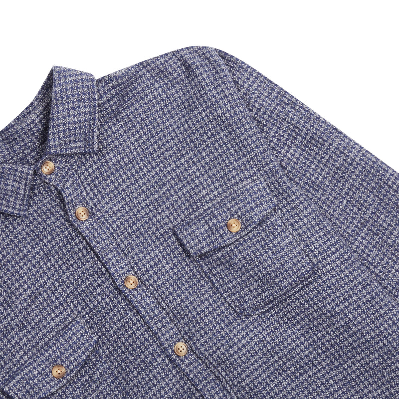 Burrows & Hare Houndstooth Over Shirt - Navy - Burrows and Hare