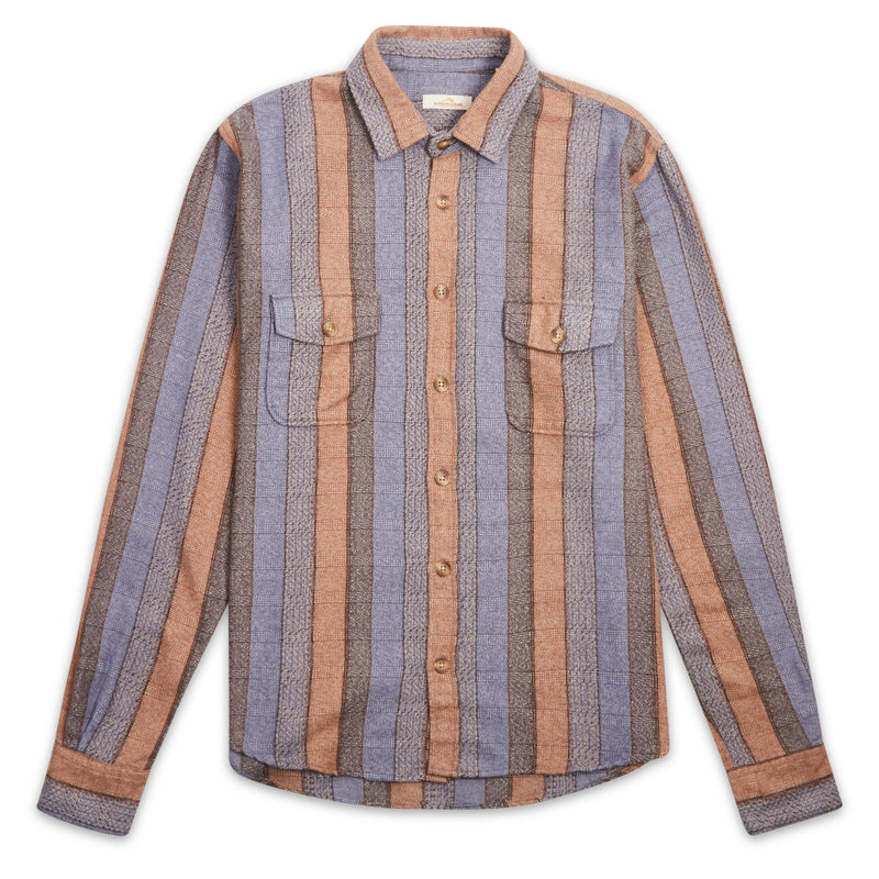 Burrows & Hare Over Shirt - Stripe Blue/Sand - Burrows and Hare