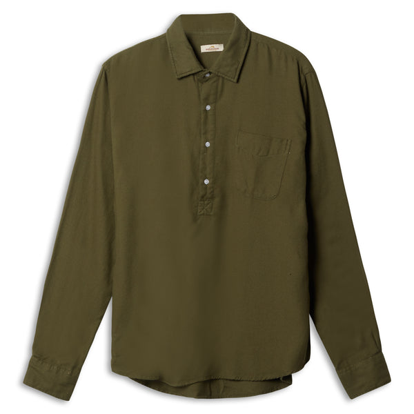 Burrows & Hare Pop Over Shirt - Green - Burrows and Hare