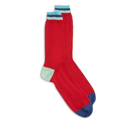 Burrows & Hare Stripe Cuff Socks - Red - Burrows and Hare