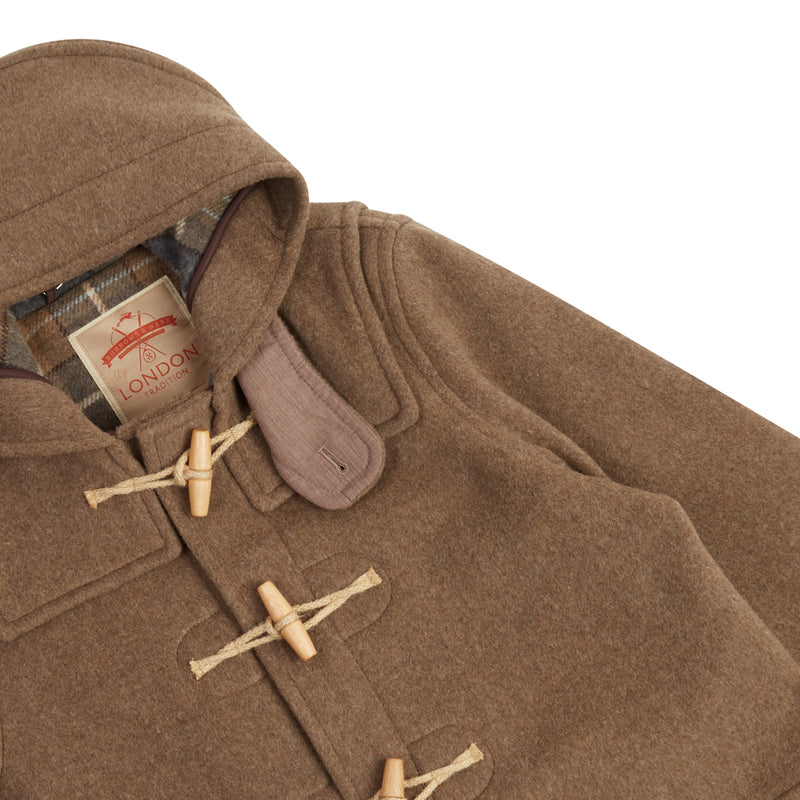 Burrows & Hare Water Repellent Wool Duffle Coat - Mushroom - Burrows and Hare
