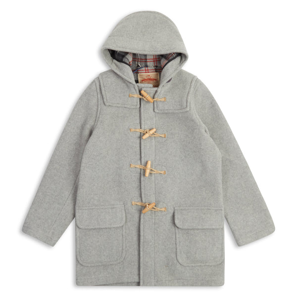 Burrows & Hare Water Repellant Wool Duffle Coat - Light Grey - Burrows and Hare