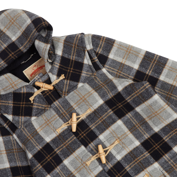 Burrows & Hare Water Repellent Wool Duffle Coat - Grey Tartan - Burrows and Hare