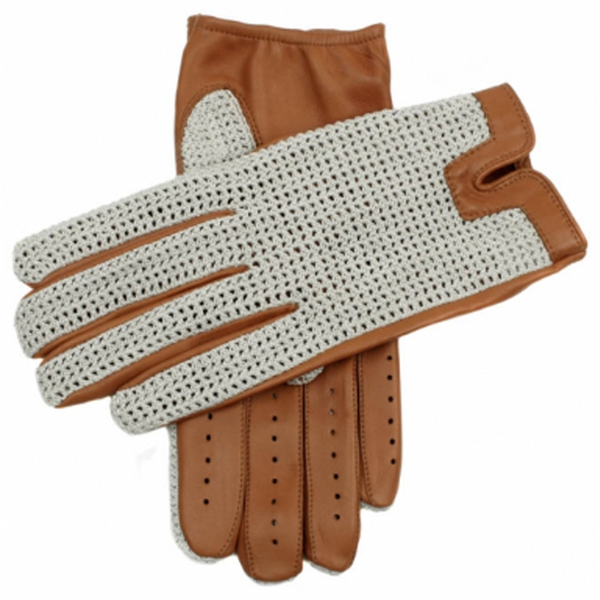 DENTS Donnington Crochet Back Leather Driving Gloves Cork - Burrows and Hare