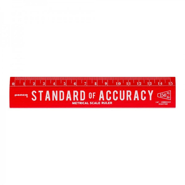 "Penco ""Standard of Accuracy"" Smooth Red Beech Wood 15cm Pocketsize Ruler-stationery-Penco-Burrows and Hare"