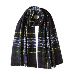 BURROWS AND HARE ROYAL STEWART TARTAN CASHMERE SCARF - NAVY - Burrows and Hare