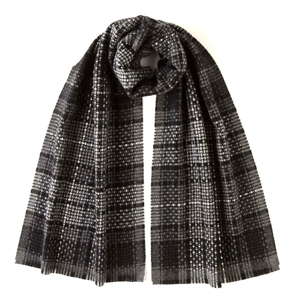BURROWS AND HARE ROYAL STEWART TARTAN CASHMERE SCARF - GREY - Burrows and Hare