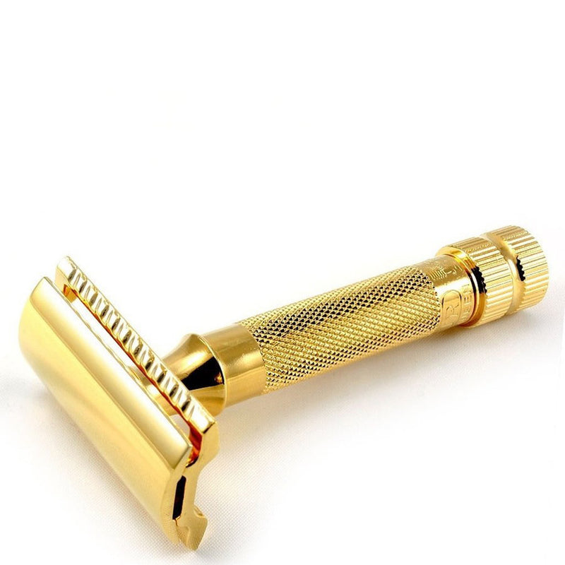 Merkur Gold Plated Classic Double Edge Safety Razor Short Handle - Burrows and Hare