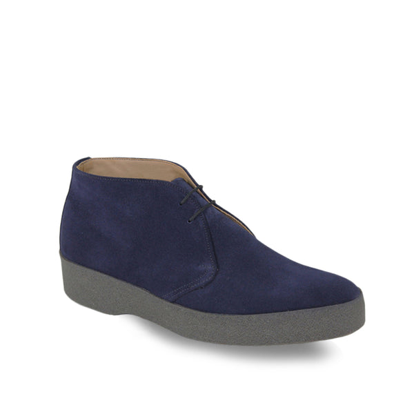 Sanders Suede Chukka Boots with Crepe Sole - Navy - Burrows and Hare