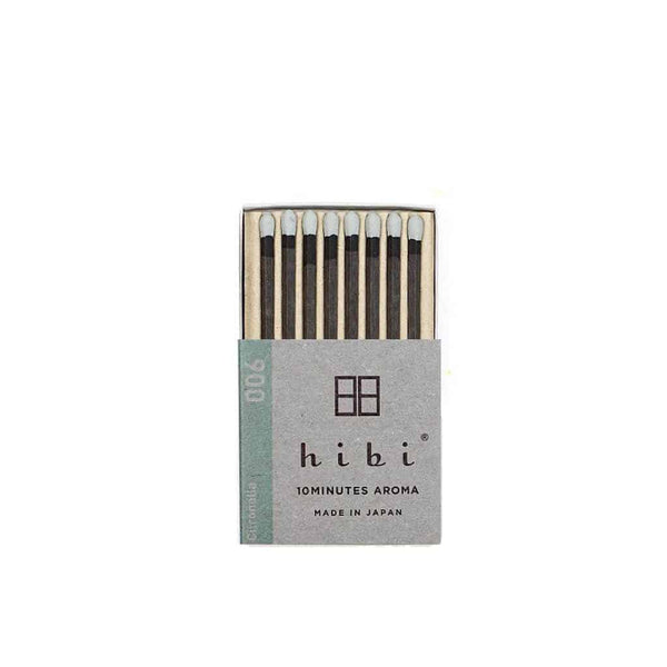 Hibi 10 Minutes Aroma Boxed Matchstick Incense - Citronella 006 - Burrows and Hare