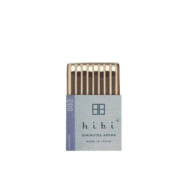 Hibi 10 Minutes Aroma Boxed Matchstick Incense - Lavender 002 - Burrows and Hare