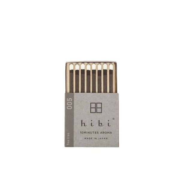 Hibi 10 Minutes Aroma Boxed Matchstick Incense - Tea Tree 005 - Burrows and Hare