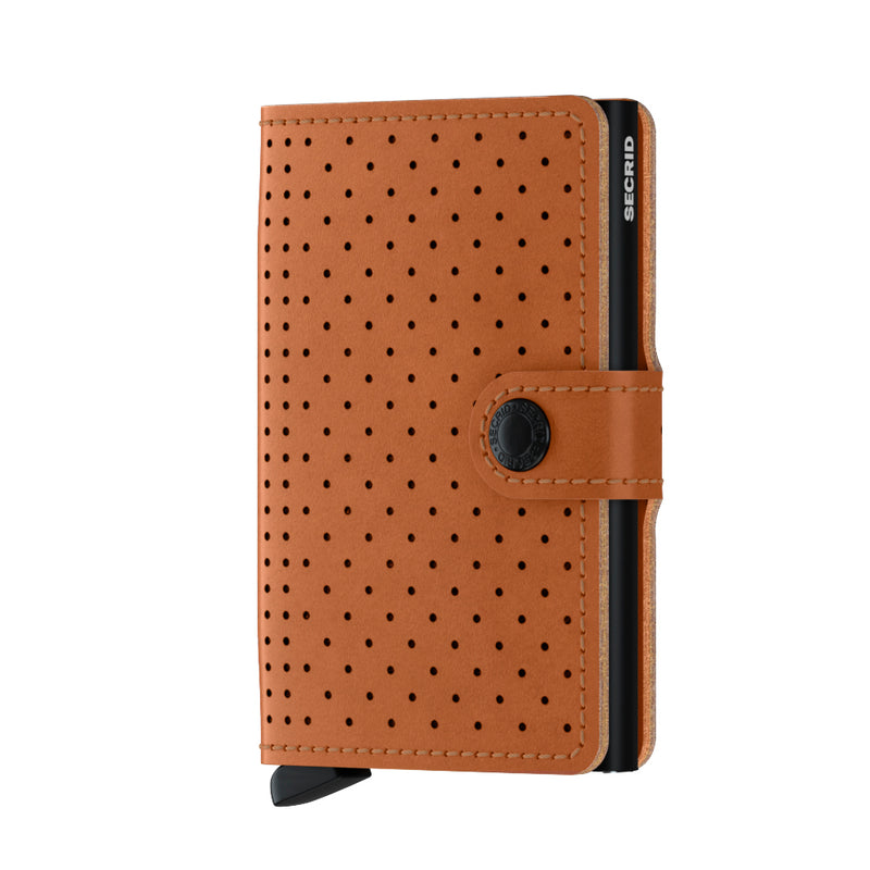 SECRID Perforated Cognac Miniwallet - Burrows and Hare