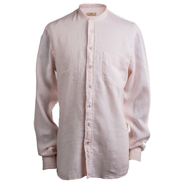 Burrows & Hare Salmon Collarless Irish Linen Longsleeve Shirt - Burrows and Hare
