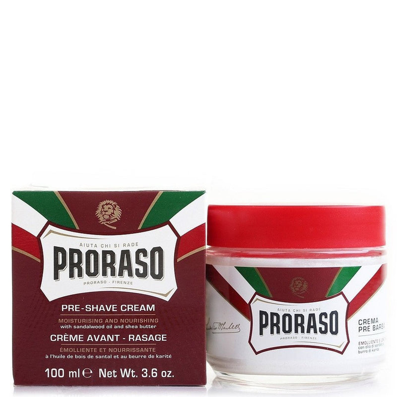 Proraso Moisturising & Nourishing Shea Butter Scented Pre-Shave Cream - Sandalwood - Burrows and Hare