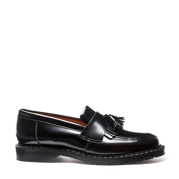 Solovair Tassel Loafer - Black Hi-Shine Solovair Original Sole Smoke - Burrows and Hare