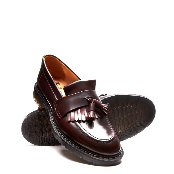 Solovair Tassel Loafer - Burgundy Rub Off Hi-Shine Solovair Original Sole Smoke - Burrows and Hare