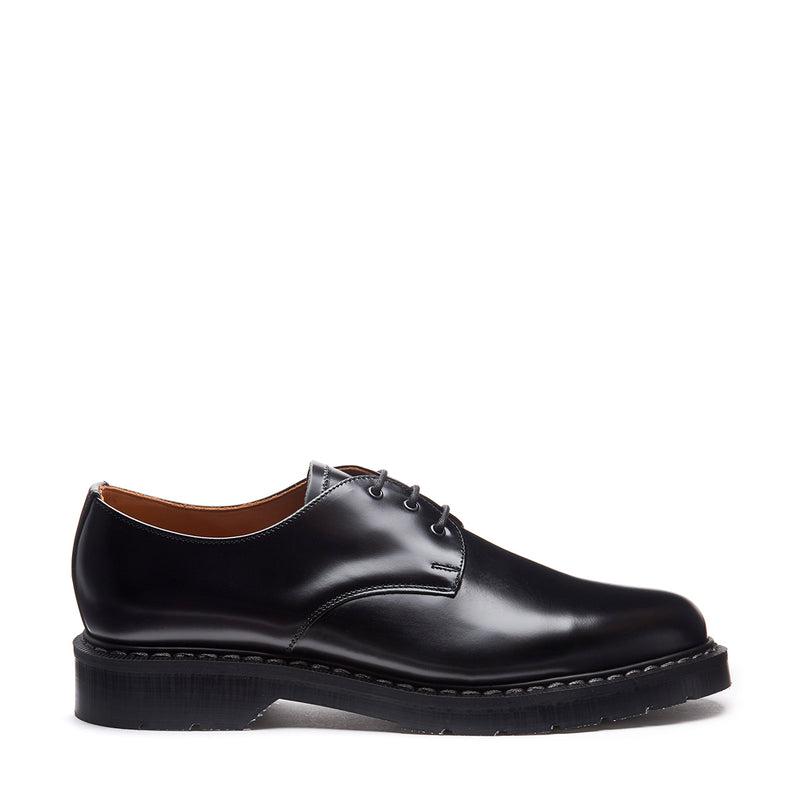 Solovair Hi-Shine Gibson Shoe - Black - Burrows and Hare