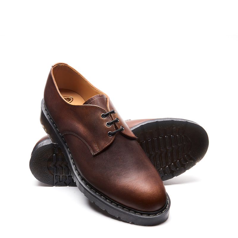Solovair Gibson Shoe - Brown Gaucho Crazy Horse Greasy Solovair Original Sole Smoke - Burrows and Hare