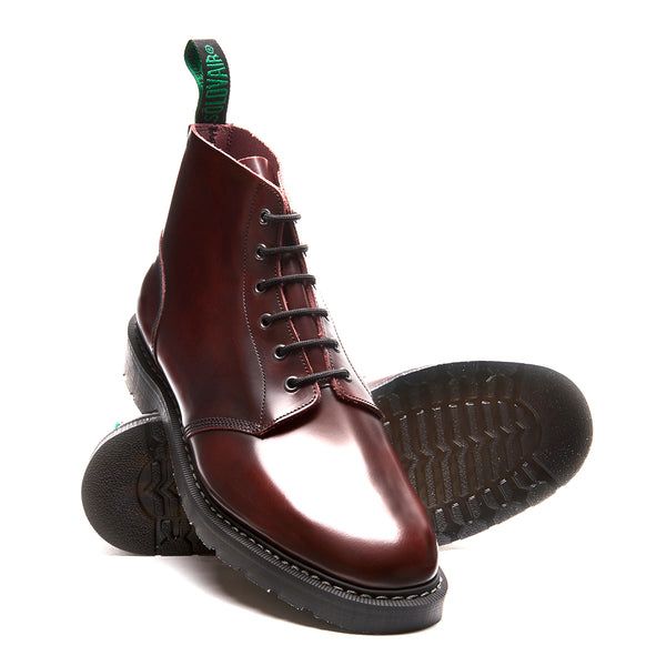 Solovair 6 Eye Astronaut Boot - Burgundy Rub Off Hi Shine Solovair Original Sole Smoke - Burrows and Hare