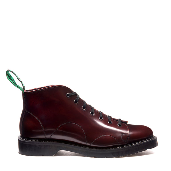 Solovair 7 Eye Monkey Boot - Burgundy Rub Off Hi Shine Solovair Original Sole Smoke - Burrows and Hare