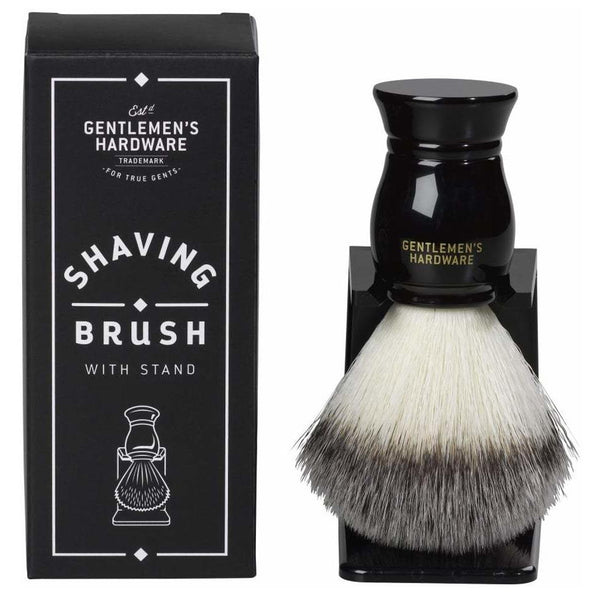 Gentlemen's Hardware Synthetic Shaving Brush & Stand - Black - Burrows and Hare