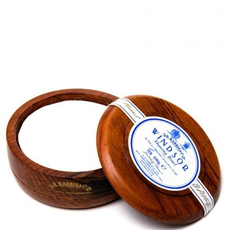 D.R Harris Luxury Triple Milled Windsor Scented Mahogany Shaving Soap Bowl - Burrows and Hare
