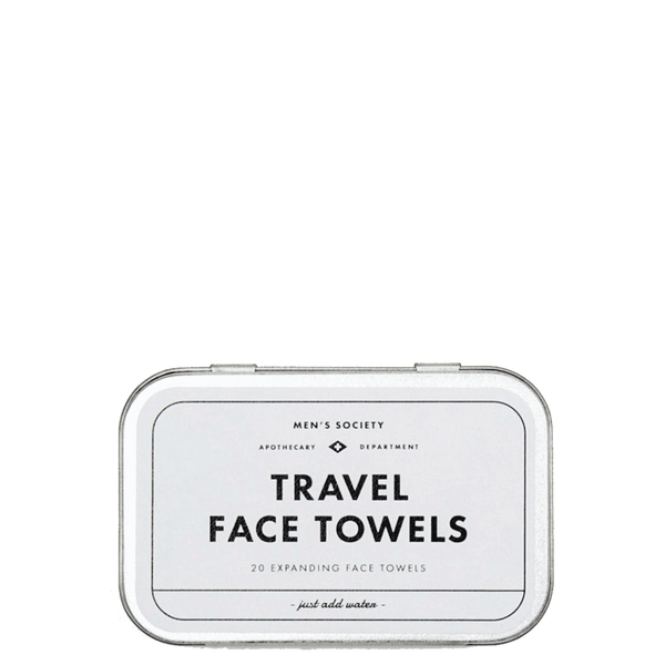 Mens Society Silver Tinned Box Of 20 Travel Expanding Face Towels - Burrows and Hare