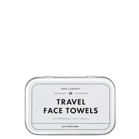 Mens Society Silver Tinned Box Of 20 Travel Expanding Face Towels