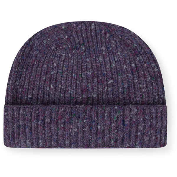 Burrows & Hare Merino Donegal Wool Beanie Hat - Purple - Burrows and Hare