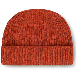 Burrows & Hare Merino Donegal Wool Beanie Hat - Orange - Burrows and Hare