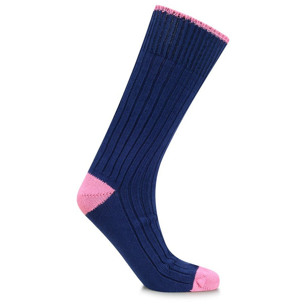 Burrows & Hare Heel Sock - Navy/Pink - Burrows and Hare