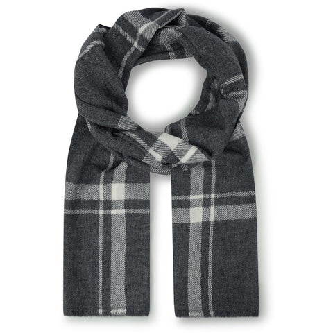 Burrows & Hare Cashmere & Merino Wool - Grey Check Scarf