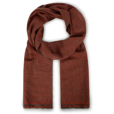 Burrows & Hare Cashmere & Merino Wool - Deep Red Herringbone Scarf