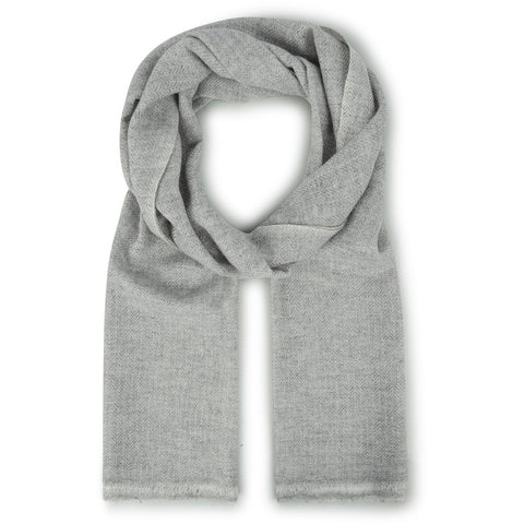 Burrows & Hare Cashmere & Merino Wool - Light Grey Herringbone Scarf