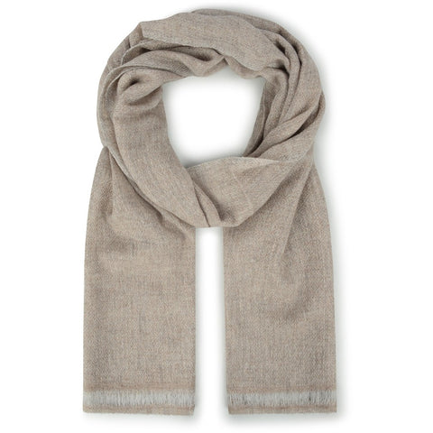 Burrows & Hare Cashmere & Merino Wool - Oatmeal Diamond Scarf
