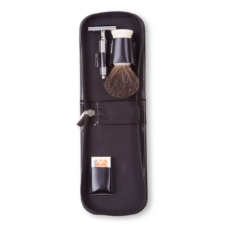 Dovo Leather Travel Shaving Set - Black - Burrows and Hare