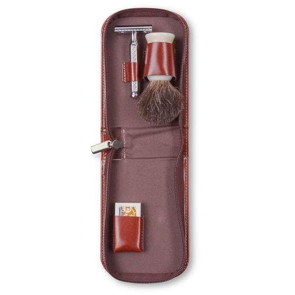 Dovo Leather Travel Shaving Set - Tan - Burrows and Hare