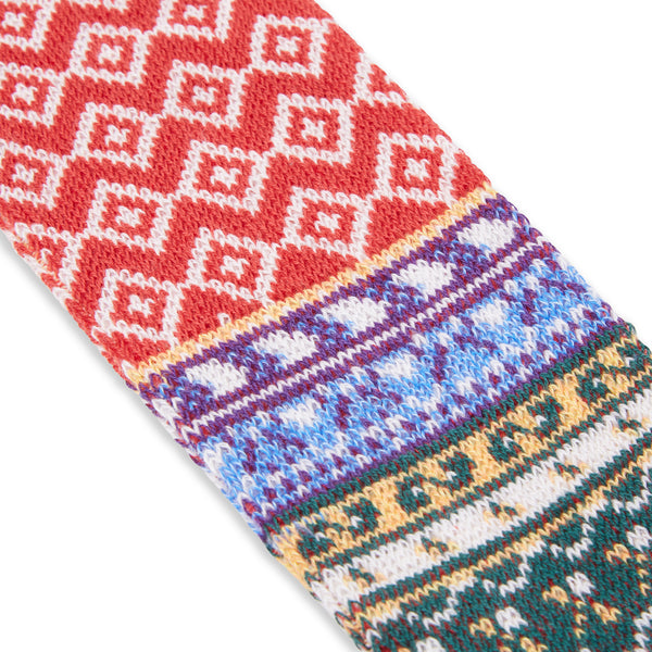 Anonymous Ism Fairisle Crew Socks - Red - Burrows and Hare