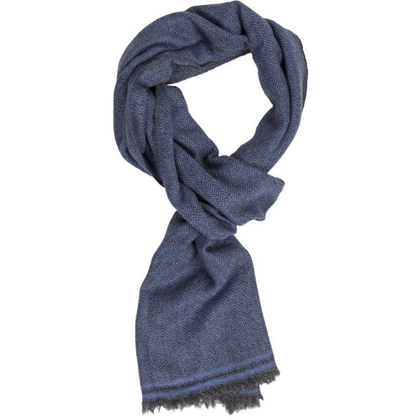 B&H - Merino/Cashmire  Scarf - Navy - Burrows and Hare